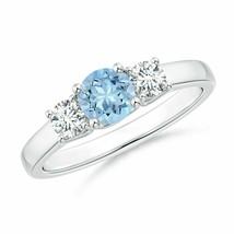 0.71ct Round Aquamarine and Diamond Three Stone Ring Gold/Silver/Platinum - $872.30+