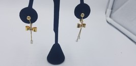 Vintage Gold Tone Screw Back Earrings With Bow, Rhinestone And Dangle To... - $15.44
