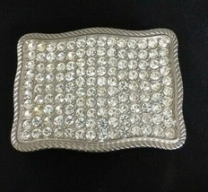 Clear Crystal Studded Silver Belt Buckle - $50.00