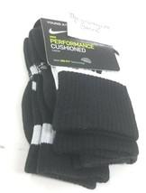 Nike Youth Boys Crew Socks sz XS 10C-3Y Black Dri Fit Cotton Cushion Performance image 2