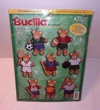 Sports Teddy Bear Felt Christmas Ornaments 8 Bears Kit NEW Bucilla Sport Variety - $34.60