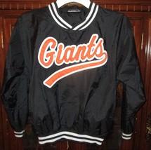 Vtg SF Giants Nylon Jacket Boys Kids XL Black Orange Sewn Logo MLB - $14.42