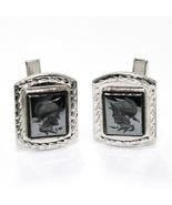Vintage Sterling Silver Carved Hematite Roman Soldier Cufflinks - $19.50