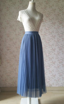Dusty Blue Pleated Tulle Skirt Blue Tulle Pleated Maxi Skirt High Waisted  image 2