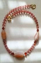 Pink Crystal Necklace with Chunky Agate Handmade Artisan - $20.00