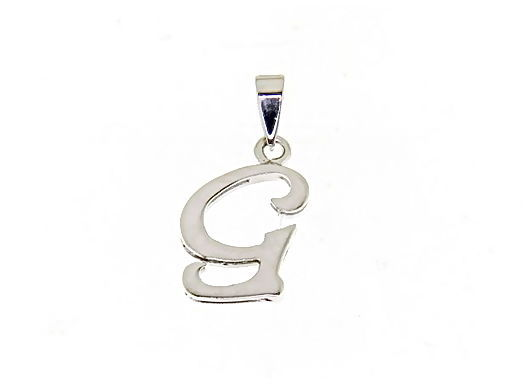 18K WHITE GOLD LUSTER PENDANT WITH INITIAL G LETTER G MADE IN ITALY 0.71 INCHES