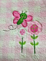 Just One Year Baby Girl Pink White Butterfly Flower Fleece Blanket Lovey... - $16.55