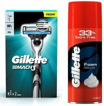 Gillette Mach 3 Shaving Razor + 1 Shaving Blade (Cartridge) and Gillette... - $14.84