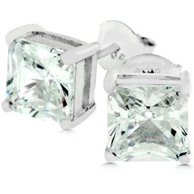 Sterling Silver Princess Cut Stud Earrings - $23.00