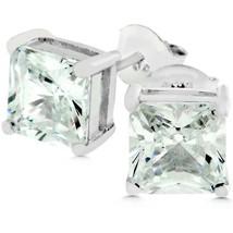 Sterling Silver Princess Cut Stud Earrings - $23.00