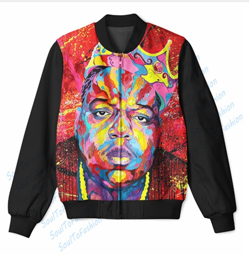 Wholesale Custom Made Notorious B.I.G. 3D Sublimation Print Zipper Up Jacket For image 4