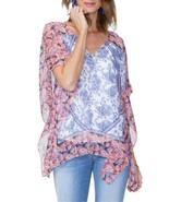 NYDJ Chiffon Caftan Tunic Top Size XS Wildflower Paisley Vanilla - $99 -... - $37.23