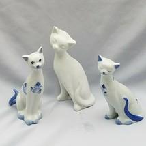 Vintage Otagiri White w/ Blue Ceramic Long Neck Cats Figurines Set of 3 - $24.18