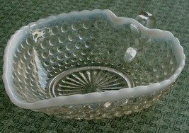 Anchor Hocking Moonstone Opalescent Hobnail Small Handled Heart Bowl, VG COND - $14.84