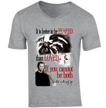 NiccolÒ Machiavelli Better To Be Feared - New Cotton Grey V-NECK Tshirt - $20.70