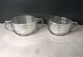 Vtg Anchor Hocking Glass MANHATTAN  Cream Sugar Bowls 1938-1943 Art Deco Ribbed - $18.00