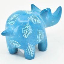 Vaneal Group Hand Carved Kisii Soapstone Sky Blue Rhinoceros Rhino Figurine image 4
