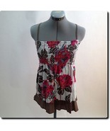American Rag Pink Red and Orange Gathered Top S - $18.78