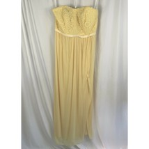 Davids Bridal Lace Mesh Long Strapless Bridesmaid Dress Size 16 Canary Yellow - $60.78