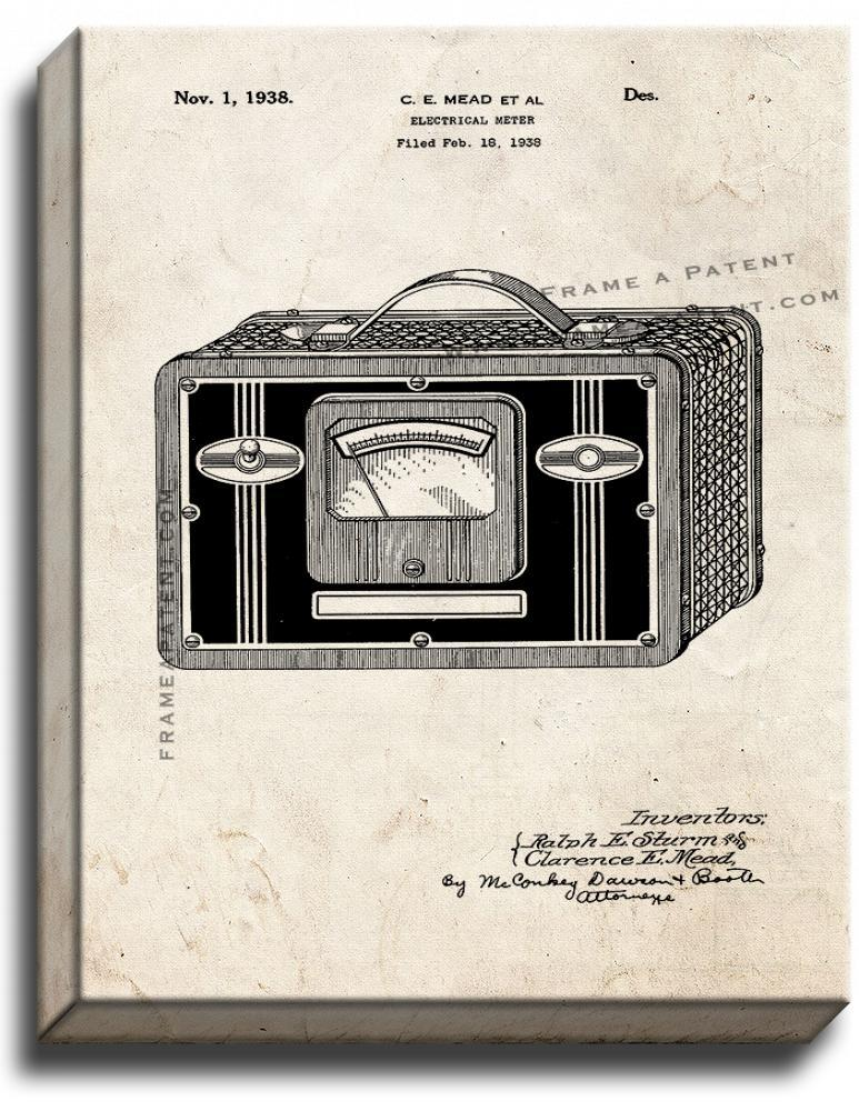 Primary image for Electrical Meter Patent Print Old Look on Canvas