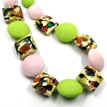 NECKLACE PINK GREEN SQUARE & DISC, MURANO GLASS, GOLD LEAF, MADE IN ITALY image 2