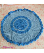 Cat Bed Crochet Crate Mat Sleep Dog Pet Blanket Washable Acrylic Blue St... - $9.99