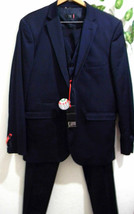 FB Fashion Blue Satin Mens Suit Blazer Pants Vest Italy Size US 46 EU 56... - $197.01