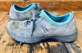 Dansko Gray Turquoise Leather Suede Sneakers US 7.5 EU 38 Tennis Shoes - $37.12