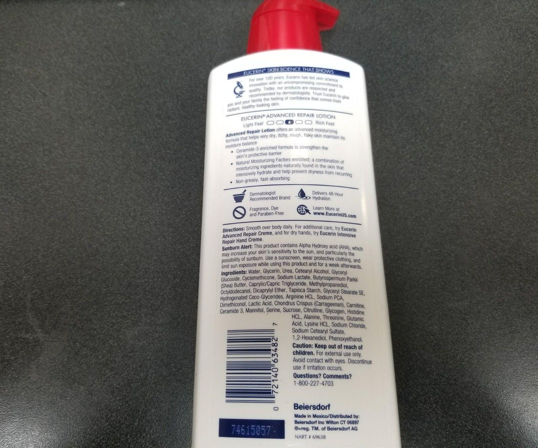 EUCERIN LOTION ADVANCED REPAIR 16.9 Ounce PUMP (FRAGRANCE-FREE)