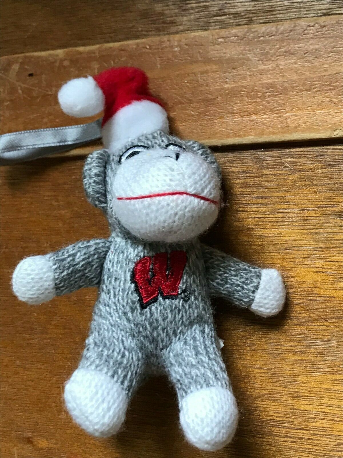 Small University of Wisconsin Gray & White Stuffed Sock Monkey w Santa Hat Chris image 3