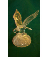 CRYSTAL AMERICAN EAGLE WITH WINGS SPREAD ON A ROCK FIGURINE - $96.53