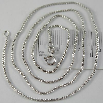 SOLID 18K WHITE GOLD SPIGA WHEAT EAR CHAIN 16 INCHES, 1.2 MM, MADE IN ITALY