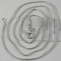 SOLID 18K WHITE GOLD SPIGA WHEAT EAR CHAIN 16 INCHES, 1.2 MM, MADE IN ITALY  image 1