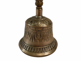 Vintage Antique Brass Ornate Hand Dinner Bell image 3