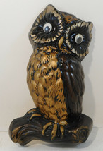 "Vintage Owl Bird perched on Branch Wall Hanging 10"" Brown Gold - $9.89"