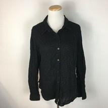 Jones New York Sport Women's Black Longsleeve Button Front Shirt Size XL  - $12.86