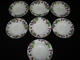 Lot of 7 Tienshan RASPBERRY SOCIAL Rimmed Soup or Cereal Bowls -- Mint - $99.99