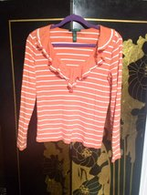 Orange Ralph Lauren Top M white stripes ruffles shirt - $18.00