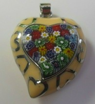 Vintage Large Stainless Steel Mosaic Enamel Hearts Pendant - $74.25