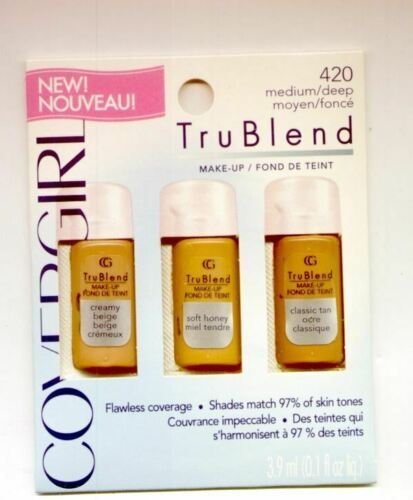 Primary image for 6 Covergirl Trublend #420 Medium/Deep Make Up-Mix the Colors to Get a perfect Co