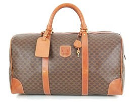 Authentic CELINE Brown Canvas and Leather Boston Duffle Gym Bag #34819 - $195.00