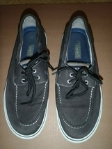 Sperry Top-Sider BLACK Canvas 2 Eyelet Boat Shoe Mens Size 10.5M  - $37.39