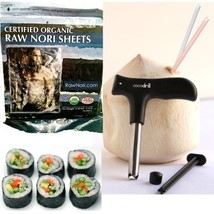 CocoDrill Coconut Opener + 50 Raw Organic Nori Sheets COMBO - Open Young Coco - $22.76