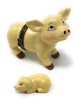 Art Gifts Porcelain Pig Shaped Trinket Box with Piglet, 2.5 Inches Long - $22.85