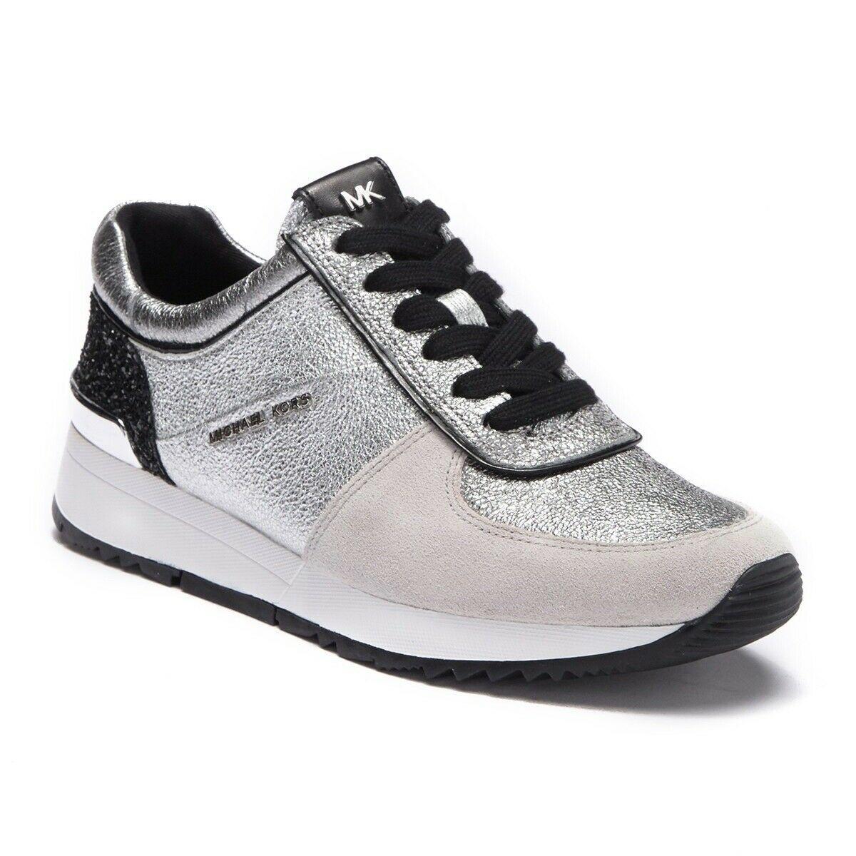 Michael Kors MK Women's Allie Trainer Sparkle Metallic Sneakers Shoes Silver