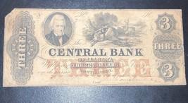 1855 $3 Three Dollar Central Bank of Alabama Montgomery Haxby-G10a - $108.90