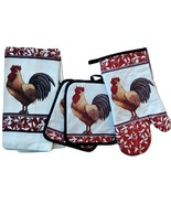 ROOSTER KITCHEN SET 5pc Towels Mitt Potholders Red Floral Black Trim Cot... - $16.99