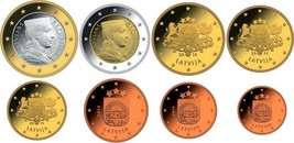 Latvia 2014 euro coins full set, from 1 cent to 2 euro, UNC, - $8.78