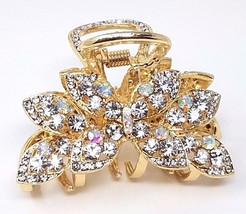 Ladies Hair Accessories, Jaw Hair Clip with Rhinestones, Color Gold - €11,63 EUR