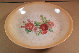 Antique Wellsville Pottery Ohio Cabbage Rose Bowl Pie Plate Tan Cream Fl... - $6.06